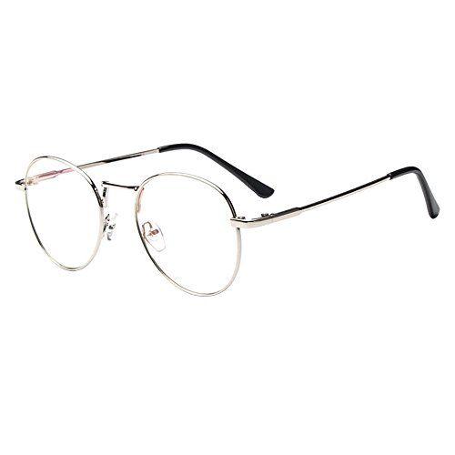 Forepin® Lunette de Vue Femme Homme Unisex Vintage Retro Monture Metalique  Mode Fashion Eyeglasses Lunettes Verre Transparent Cadre Frame Lentille  Claire d14c088c1fc3