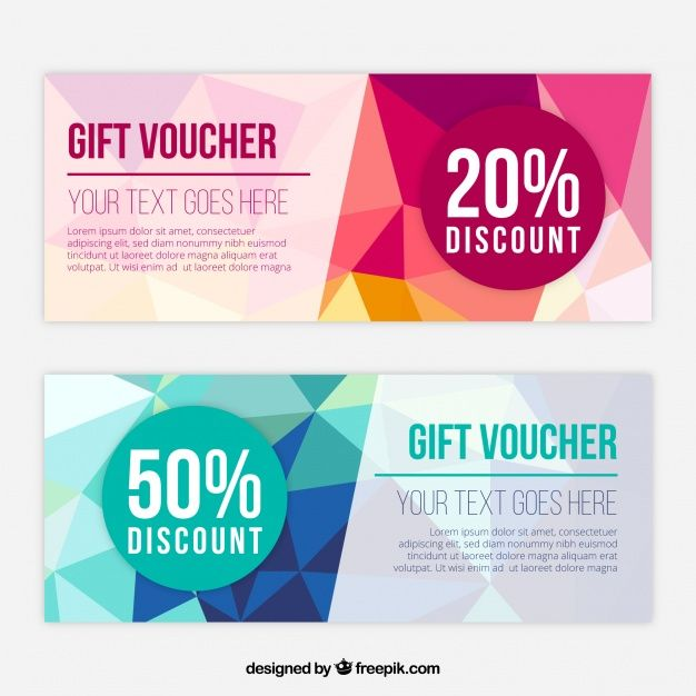 Fantastic gift vouchers with polygonal shapes free vector fantastic gift vouchers with polygonal shapes free vector negle