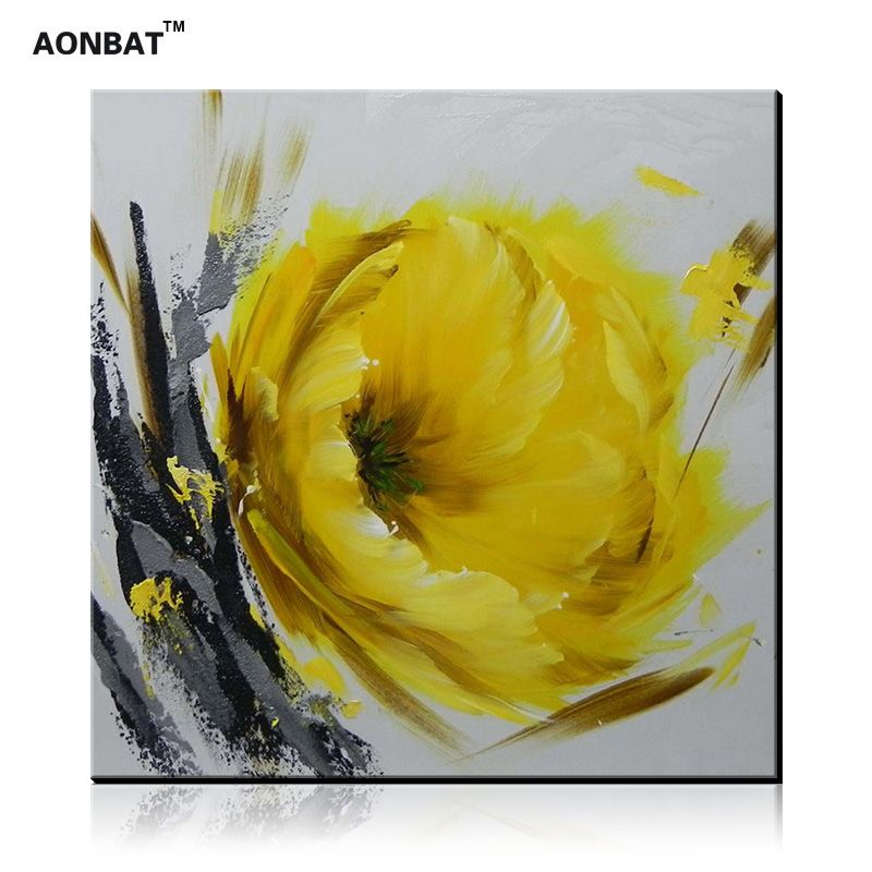 100% Handmade Oil Painting of Yellow Flower on Canvas Wall Art Hand ...