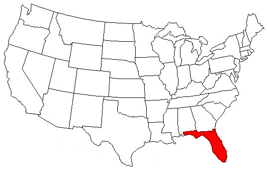 Florida On Us Map - Us map with florida highlighted
