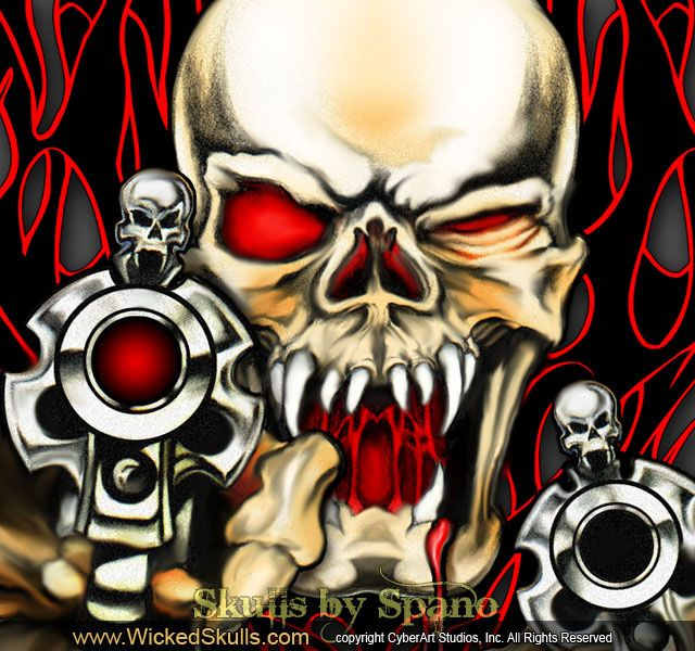 Drawings Easy Skull With Guns: Gallery For > Pictures Of Skulls And Guns In 2019