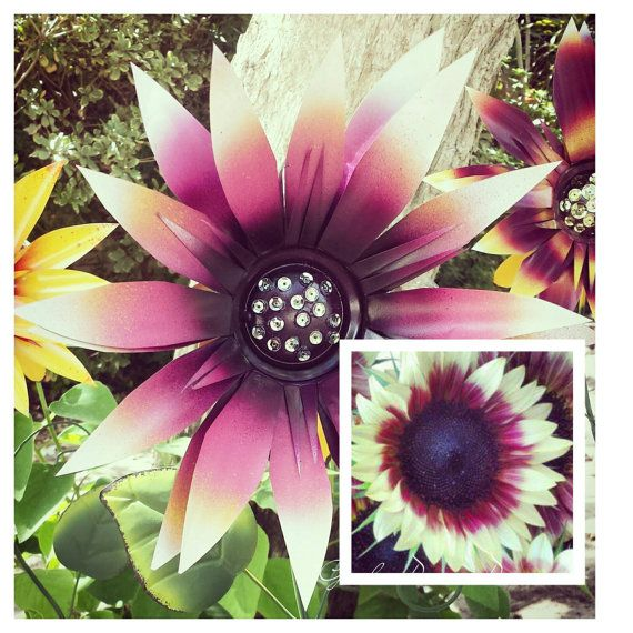 Pink Sunflowers   Metal Garden Stakes Https://www.etsy.com/