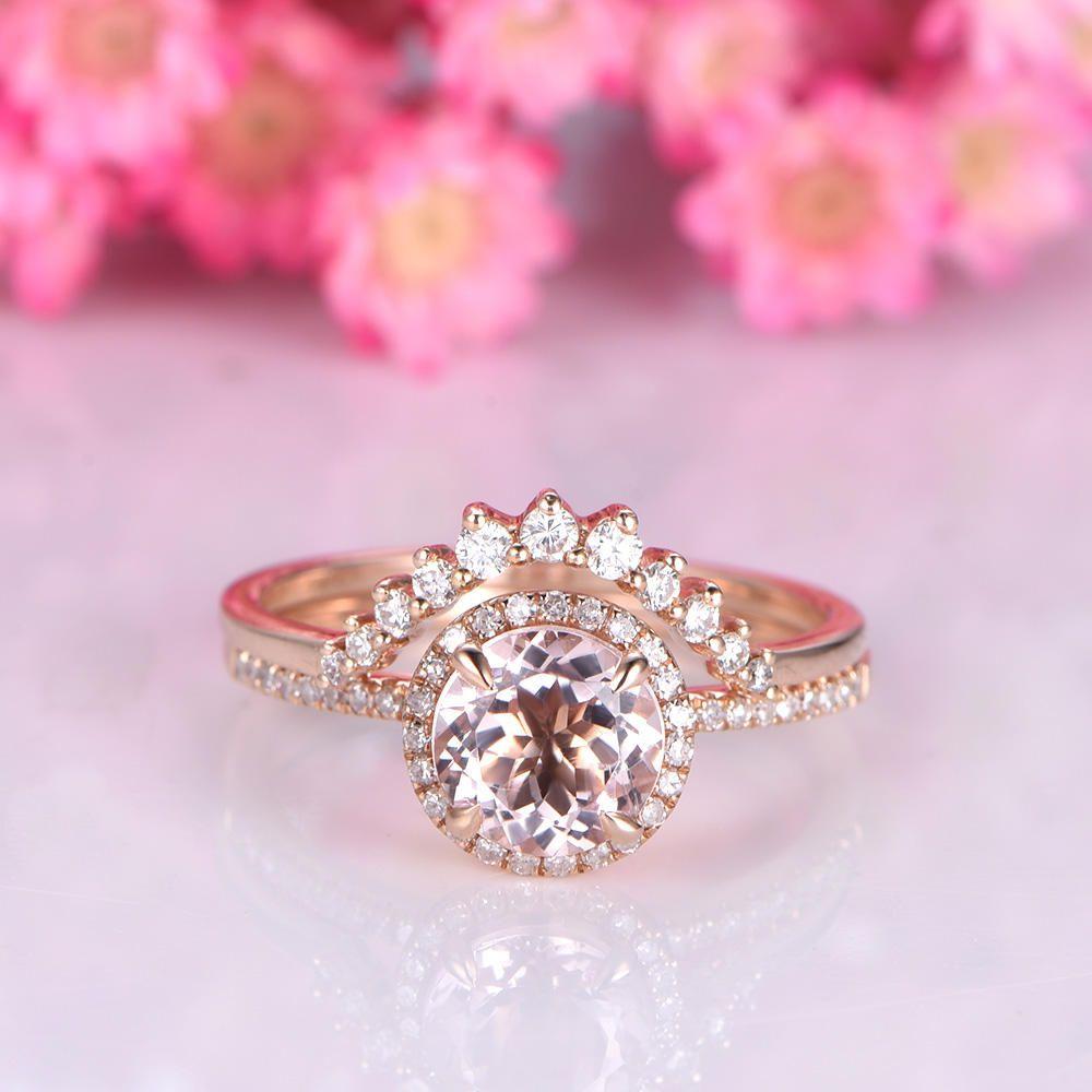 Morganite ring set rose gold morganite engagement ring 7mm round cut ...
