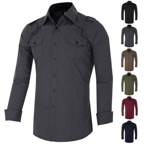 New-Men-Casual-Formal-Shirts-Slim-Fit-Shirt-Top-Long-Sleeve-Military-Style-Shirt