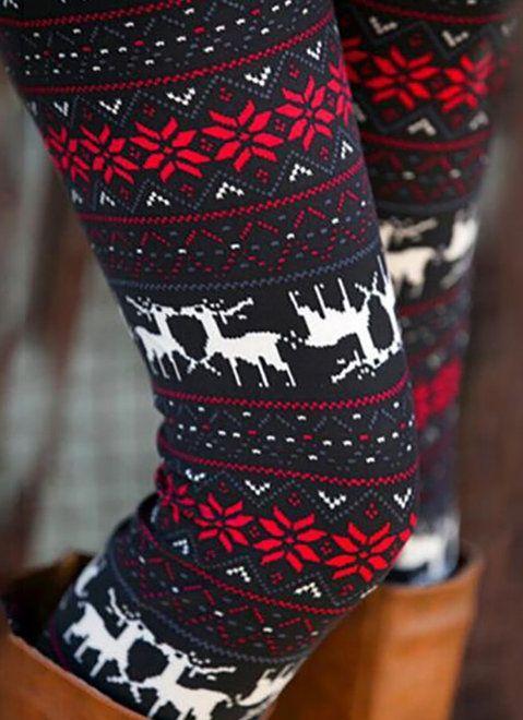 0491521eda18 Winter Christmas Deer Snowflake Print Skinny Leggings | Beauty ...