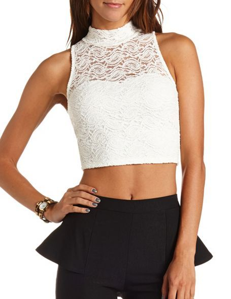 d885b5c121a Lace Mock Neck Crop Top  Charlotte Russe