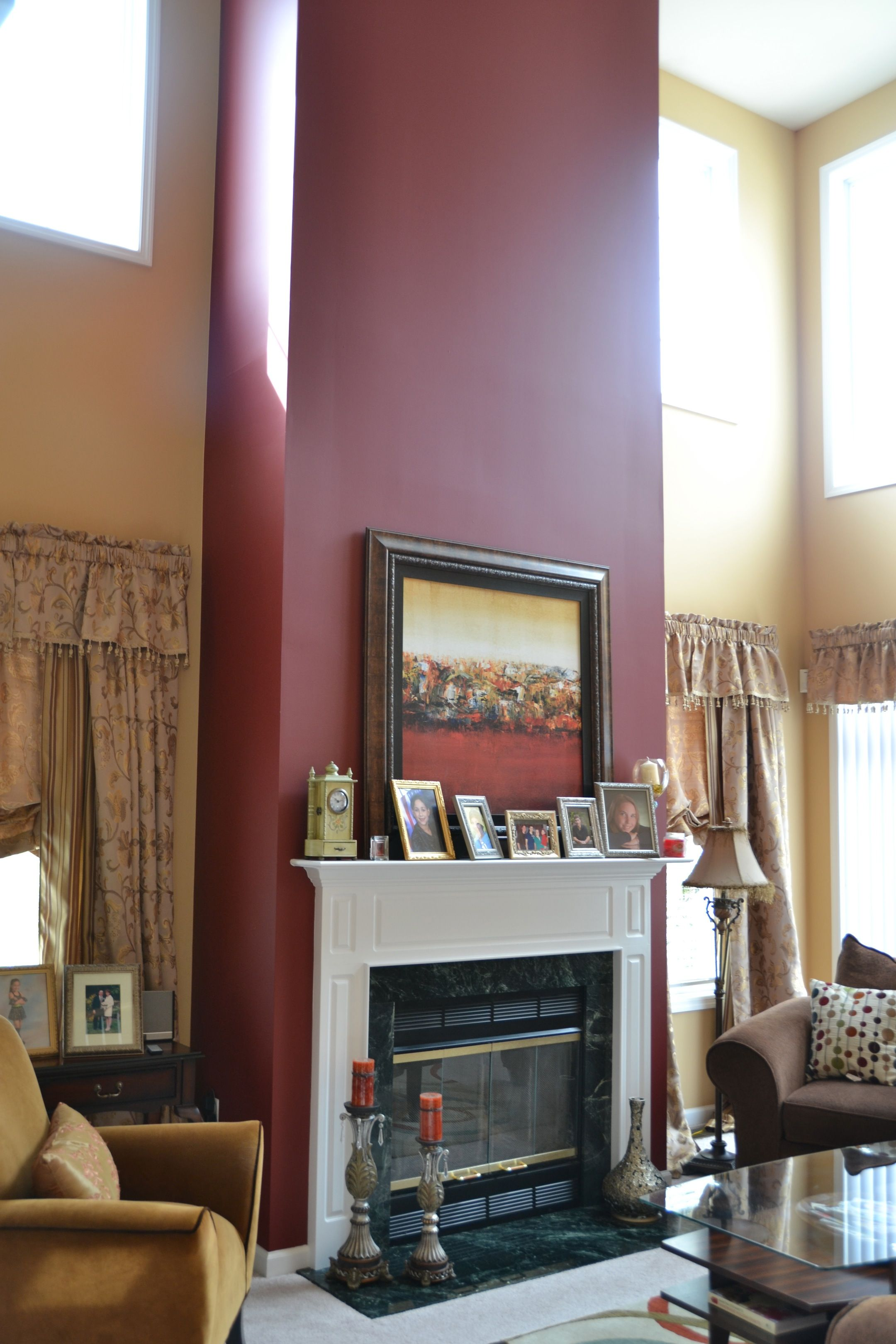 Accent wall for mantel fireplace home furnishings What color to paint living room walls