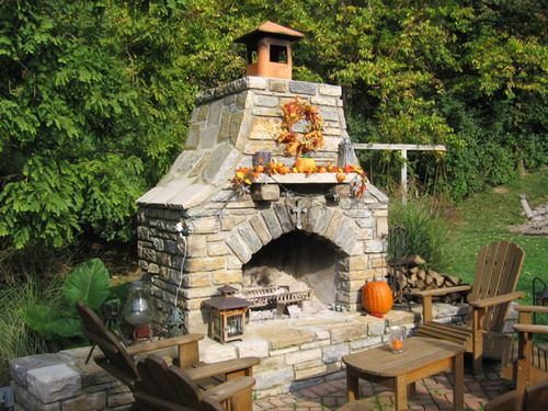 stone veneer outdoor fireplace summer decor design ideas several