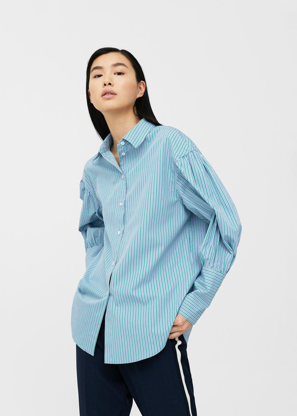 Oversize blouse woman  Silk shirt  Fun striped shirt  vintage womens buttons up shirt