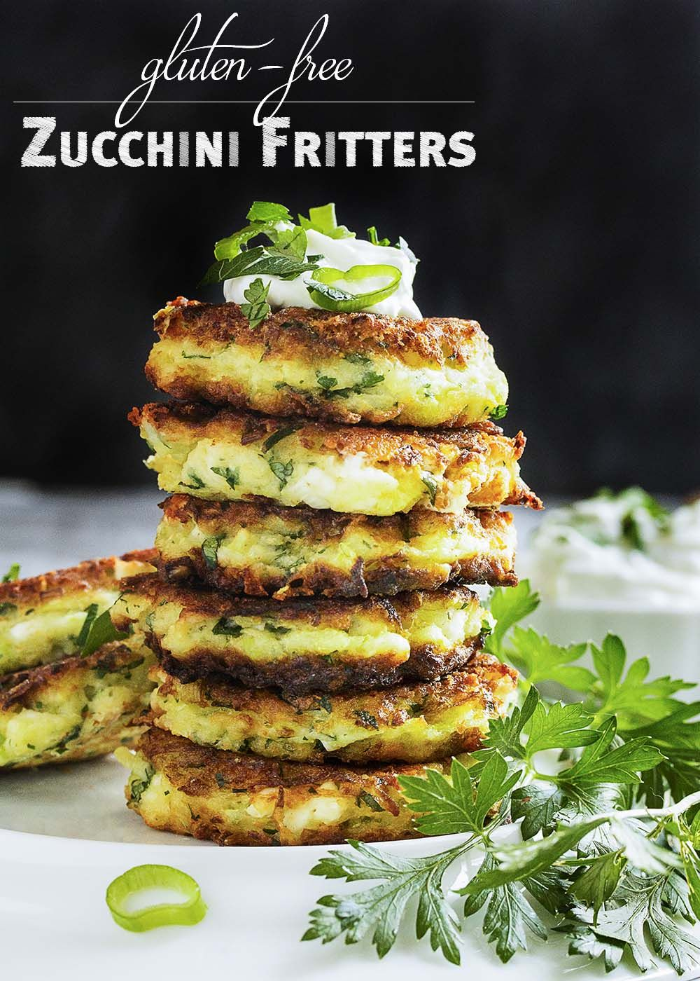 Shredded zucchini, salty feta, rice flour, and fresh parsley are featured in…