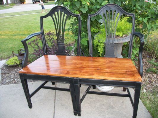Attractive Bench Made From Repurposed Dining Chairs