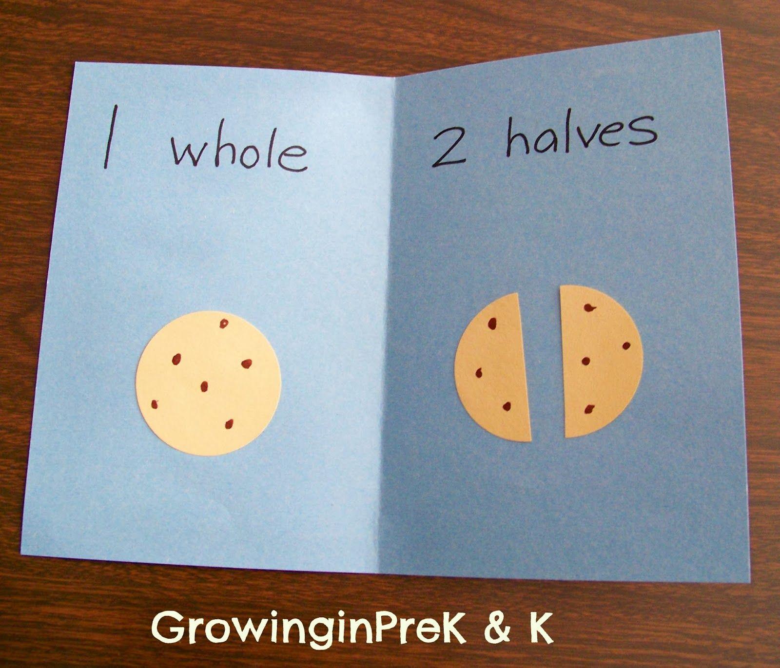 Growinginpre K And K Whole Half And Quarter In Kindergarten Math Fractions Teaching Fractions Fraction Activities [ 1371 x 1600 Pixel ]