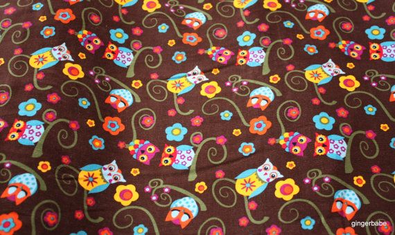 Owl pattern Corduroy by OlinasCraftBoutique on Etsy, £8.00