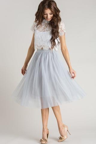 Eloise Grey Tulle Midi Skirt