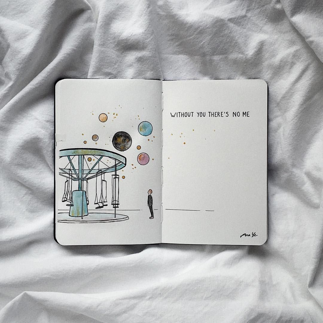 Watercolor Planets Carousel Without You There S No Me Journal