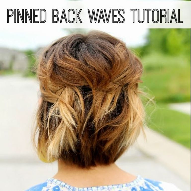 Short Hair Style Tutorial- Pinned Back Waves
