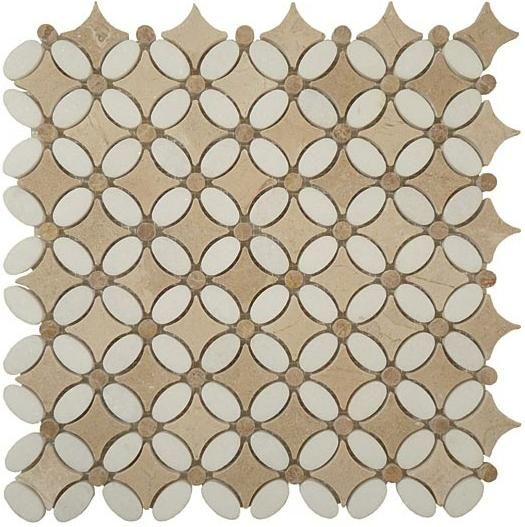 Mirage Glazzio Fs73 Flower Series Thos White Emperador Light Crema Marfil Mosaic Tile