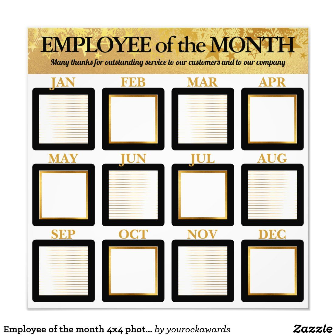 Employee Of The Month 4x4 Photos Office Display Photo Print Zazzle Com In 2021 Work Bulletin Boards Office Bulletin Board Ideas Staff Motivation Employee of the month photo