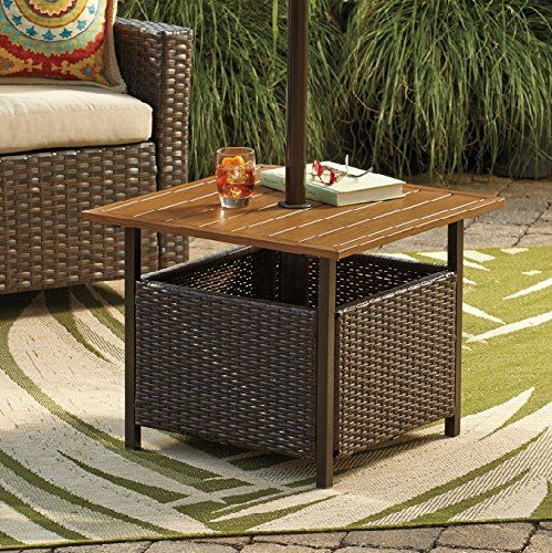 Patio Umbrella Stand Wicker And Steel Side Table Base Holder For Patio  Furniture Outdoor Backyard Pool