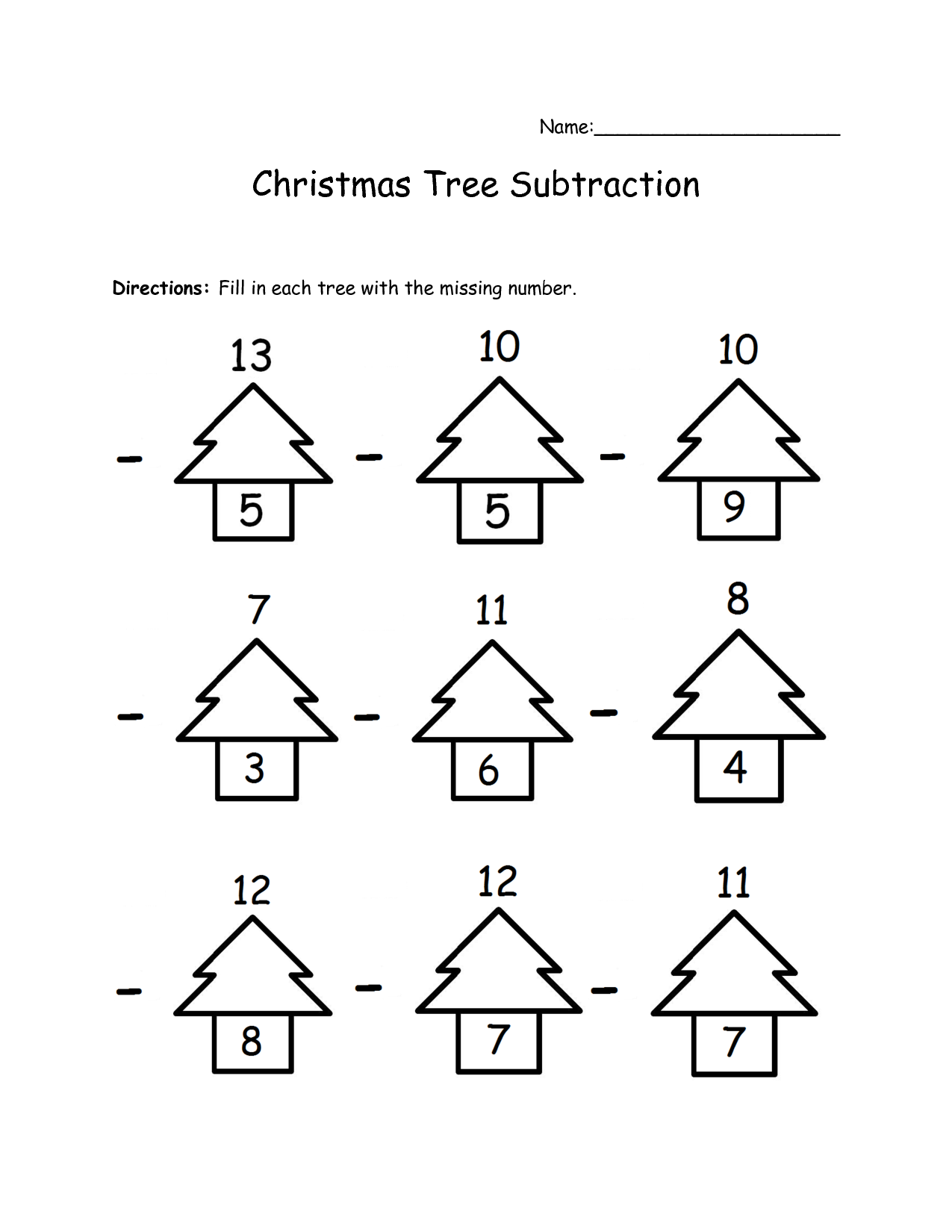 Xmas Tree Number Bonds