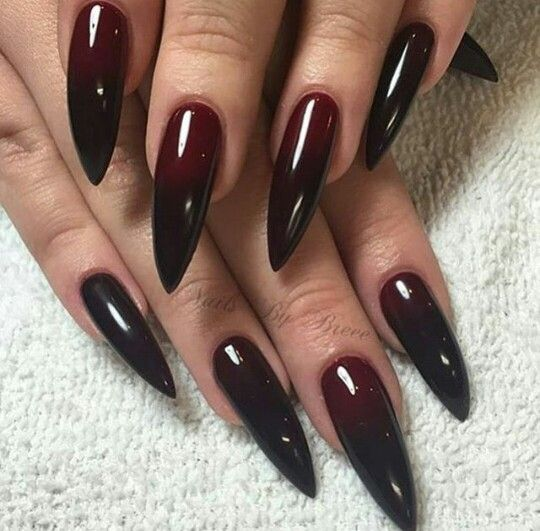 Stilleto Red And Black Nail No To The Shape But Love The Black To