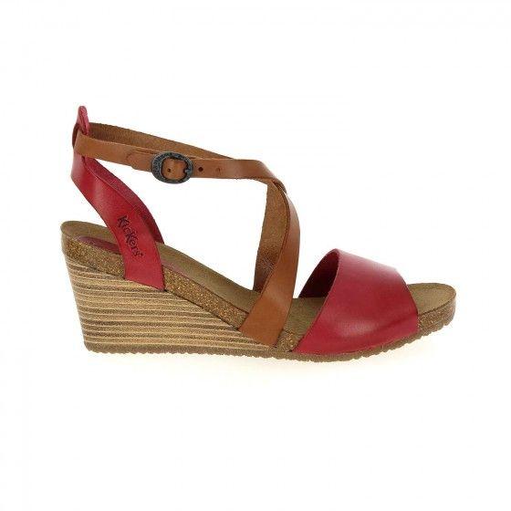 Sandales cuir compensées SPAGNOL, Bronze
