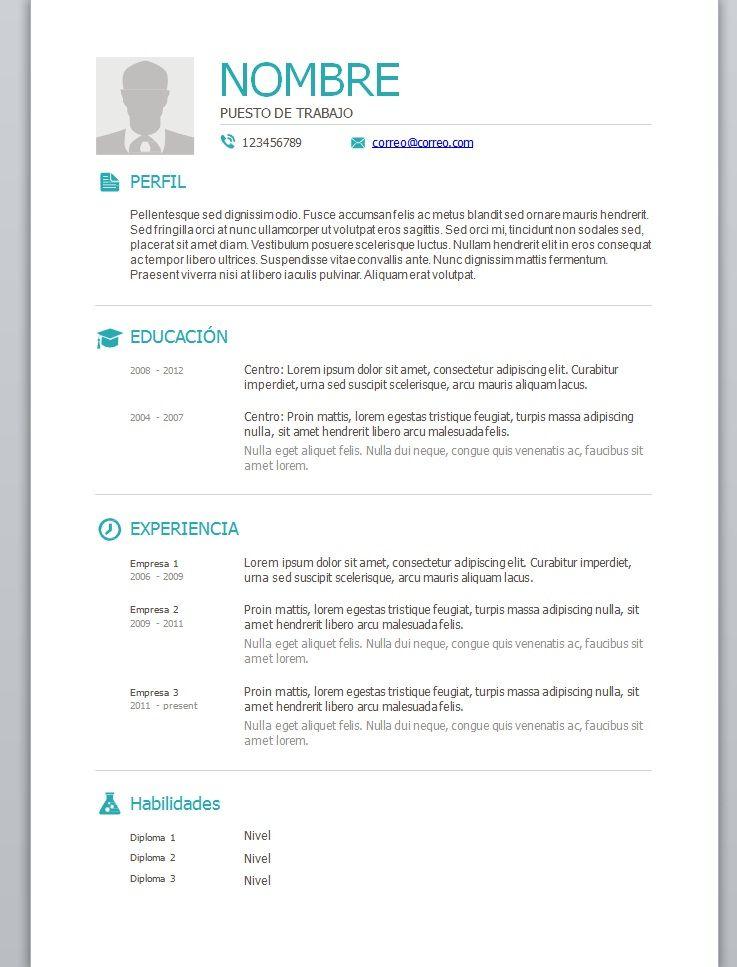 Modelos De Curriculum Vitae En Word Para Completar Modelo De