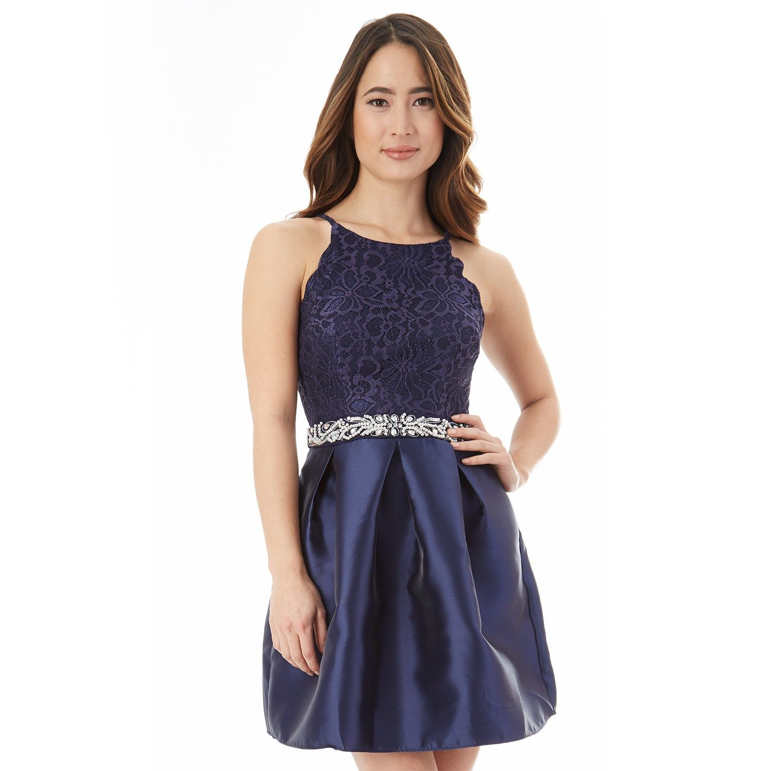 a2eb145307a Juniors  IZ Byer Lace Fit   Flare Prom Dress