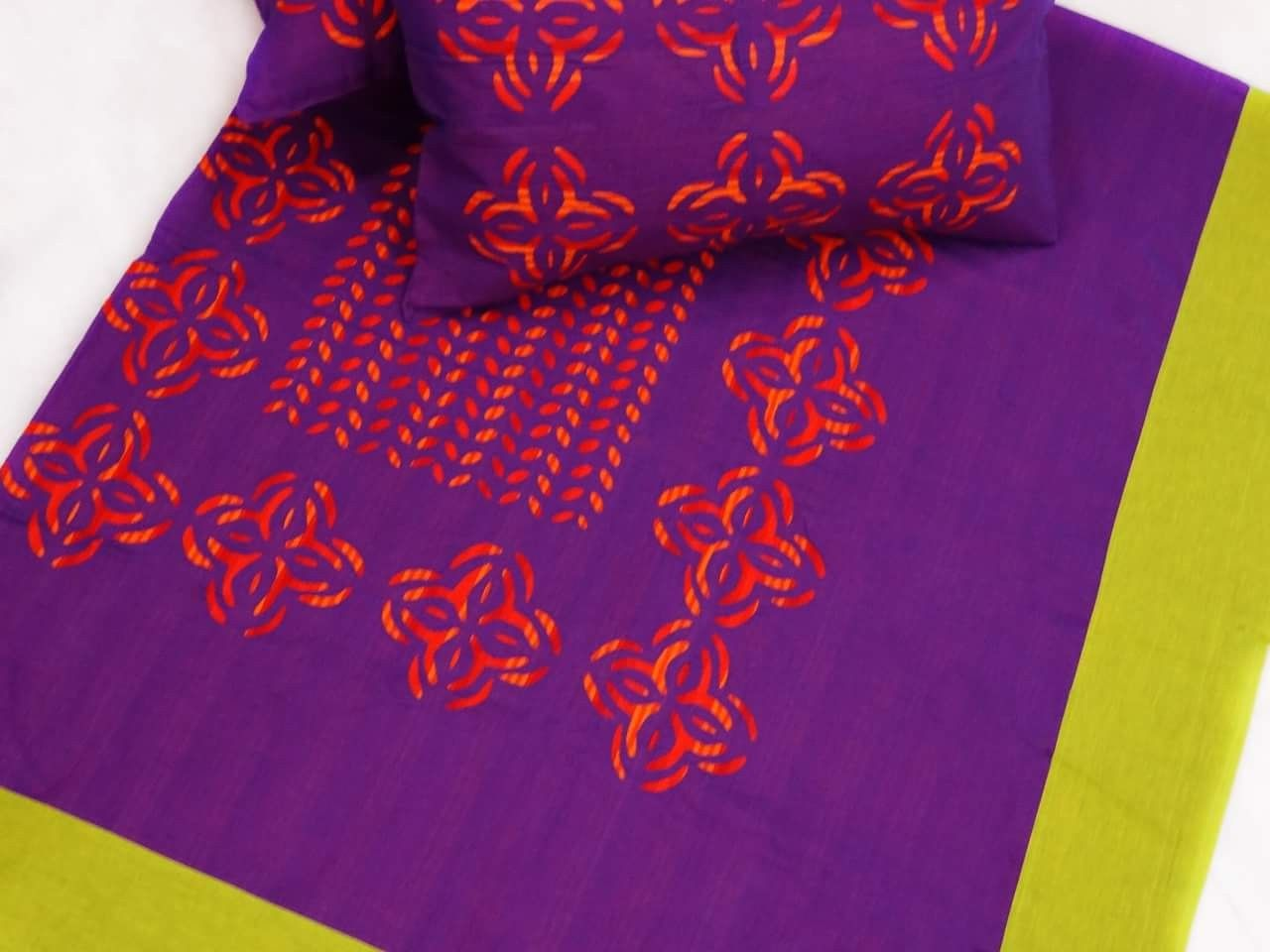 Cotton bedspreads with applique work. Size 90 x 108