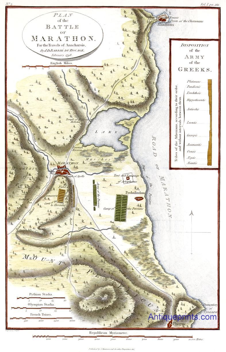 Plan Of The Battle Of Marathon Map Of 1798 Ancient Greece