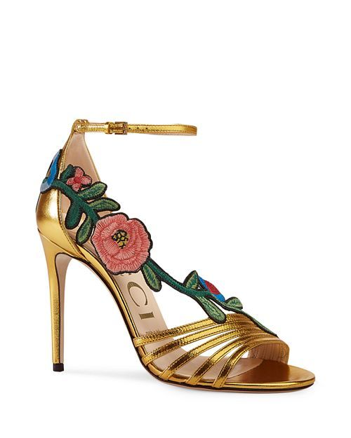 51677ac0459 Women s Embroidered High-Heel Sandals in 2019
