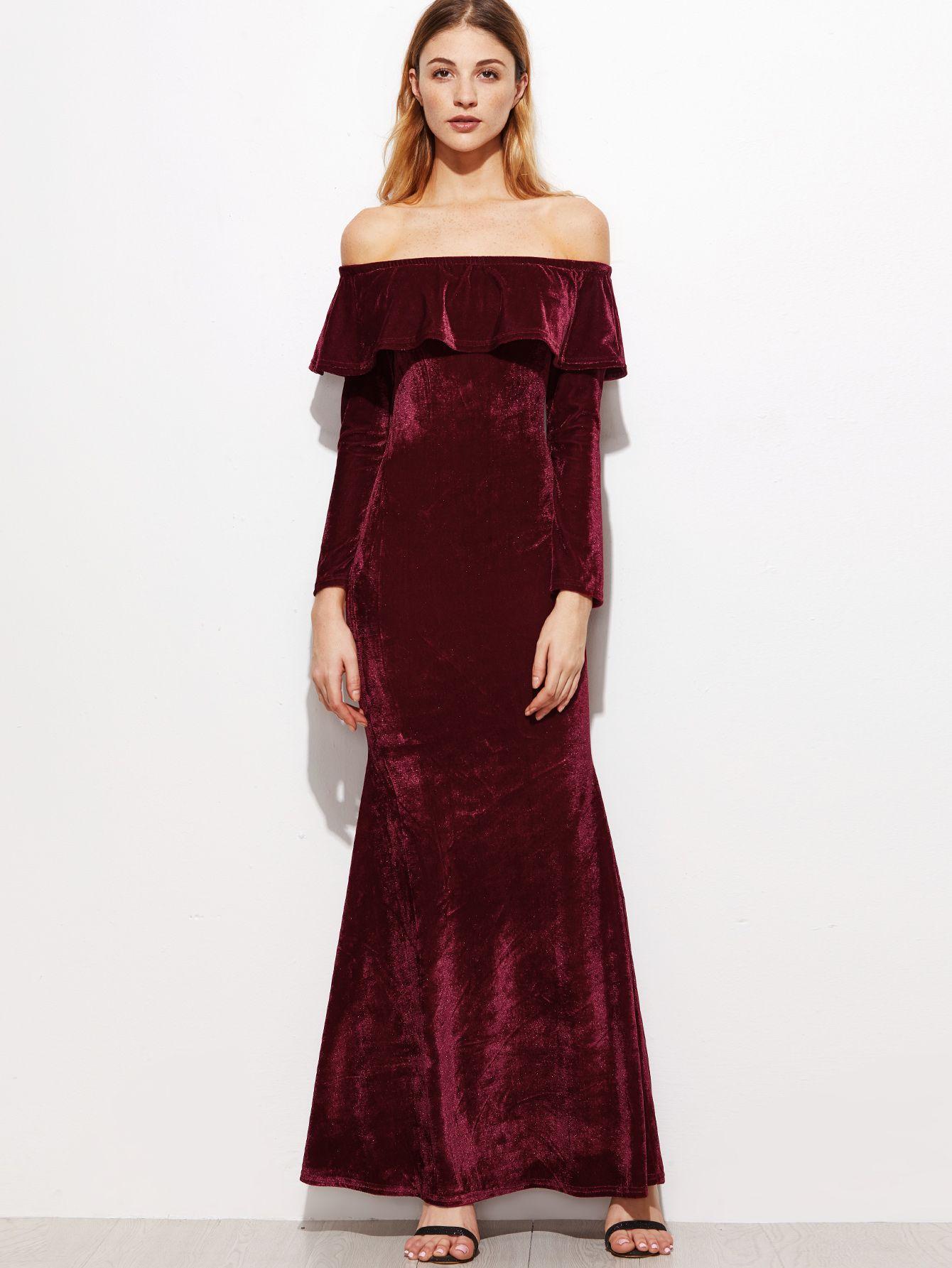 Burgundy ruffle off the shoulder velvet fishtail dress makemechic