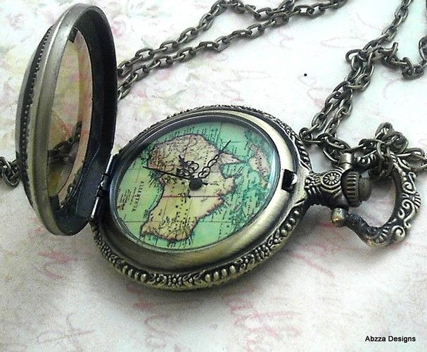Antique style old world map pocket watchnecklace is going up for antique style old world map pocket watchnecklace is going up for auction at 8am tue apr 16 with a starting bid of 7 gumiabroncs Gallery