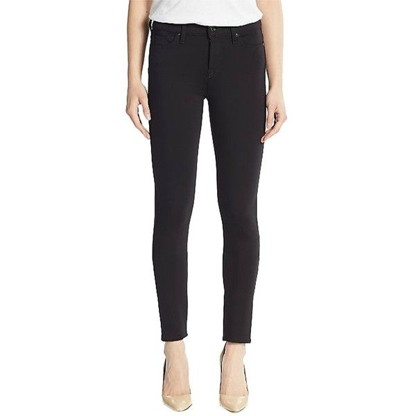 Pre-owned 7 For All Mankind New Ponte Knit Skinny Pants Nwt 25... ($129) ❤ liked on Polyvore featuring pants, leggings, black, stretch denim leggings, ponte leggings, ponte pants, legging pants and leggings jeggings