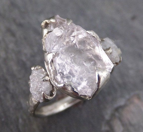 Raw Morganite Diamond White Gold Engagement Ring Wedding Custom One Of A Kind Gemstone Conflict
