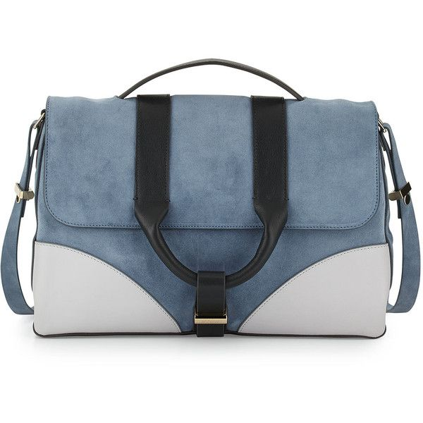 Jason Wu Hanne Suede & Leather Messenger Bag (4.450 NOK) ❤ liked on Polyvore featuring bags, messenger bags, сумки, dark plexi, jason wu, blue suede bag, zipper bag, courier bags and jason wu bags