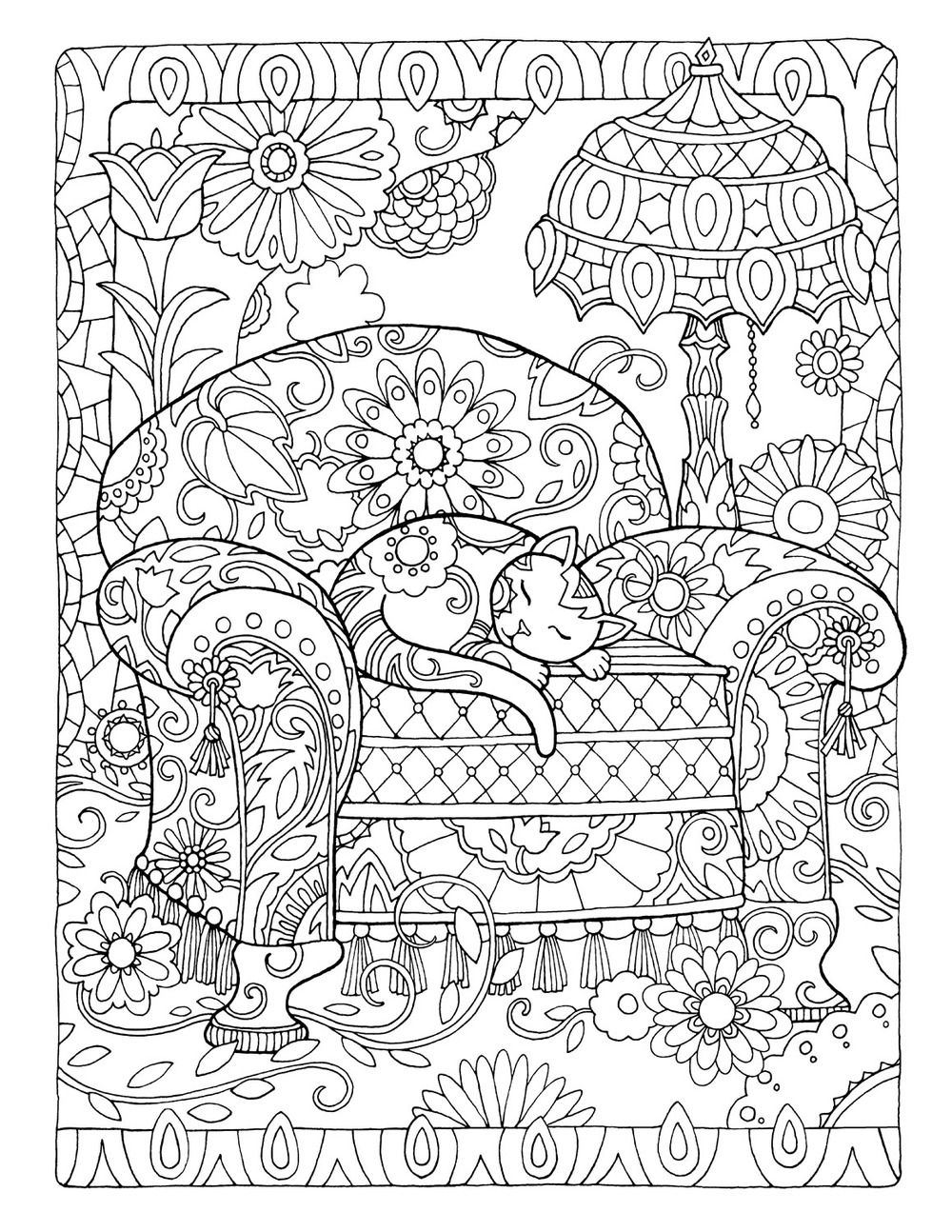 Cat on chair colouring pages pinterest coloring pages