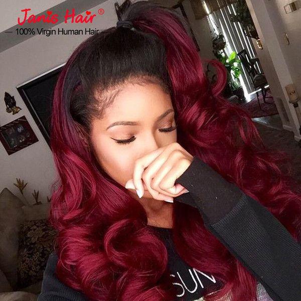Online Shop Red Hair Bundles Brazilian Burgundy Weave Ombre Human