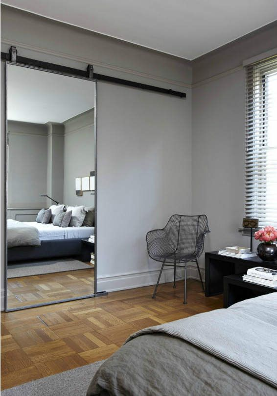 Simple Stylish Grey Bedroom Sliding Mirror Door Sliding Door Design Interior Barn Doors