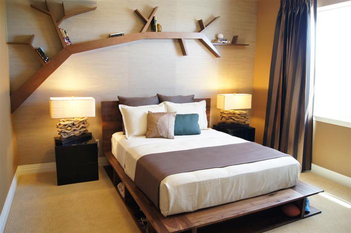 Dekotipps die Wand hinter dem Bett dekorieren