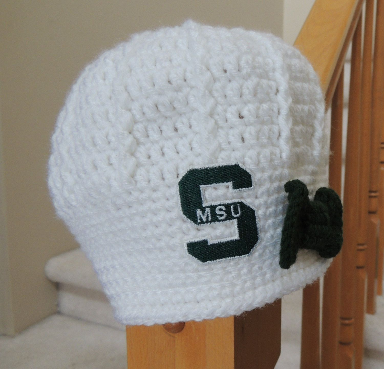 Girls Handmade Michigan State Crochet Newsboy Hat with Logo Patch