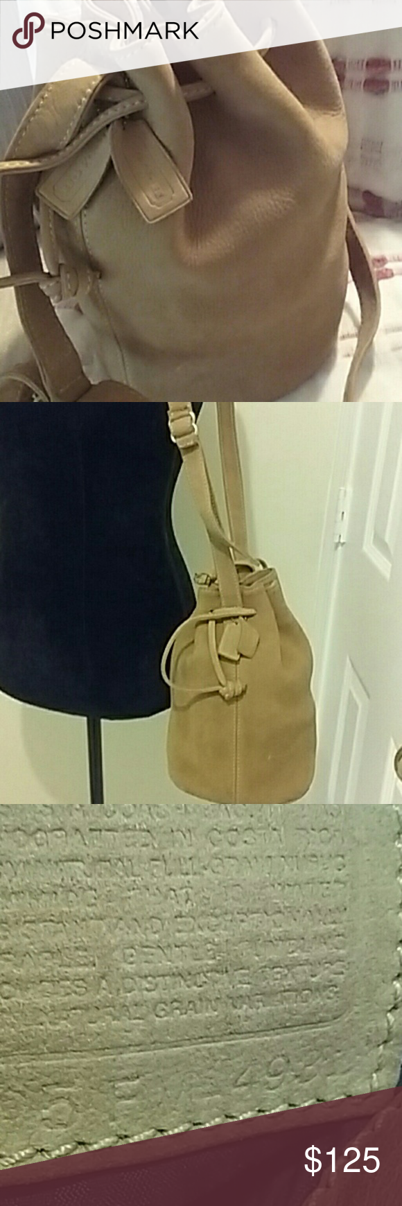 Beautiful Coach Drawstring  Nubuc, style 4931 Authentic  vintage natural grain nubuc bag. Suede like appearance  and a luxurious  soft crushed  velvet feel.  Distinct pebbled texture.  Water resistant! Coach  Bags Shoulder Bags