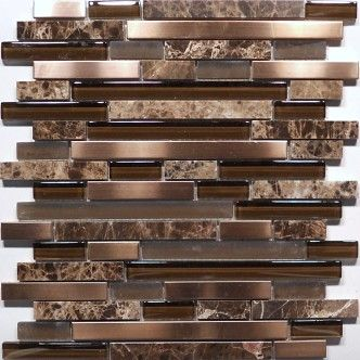 Mixed Rectangular Mosaic Tile Accent Would Like Some Metals Too Glass Stone And Me Kitchen Backsplash Tile Designs Backsplash Tile Design Metal Mosaic Tiles
