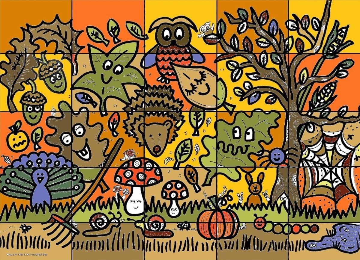 Block Poster Herfst Kleurplaat Voor 25 Personen Blockposter Kleurplaat Herfst Samenwerken De Knutseljuf Ede Kleurplaten Tekentutorials Poster