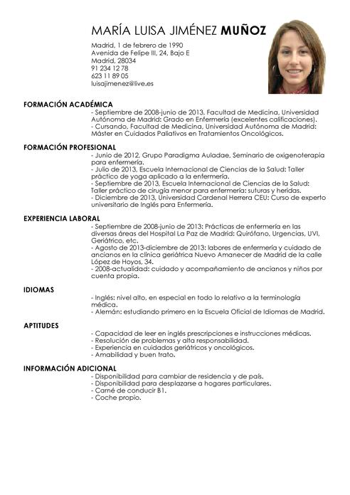 Modelo De Curriculum Vitae De Enfermeria Juni
