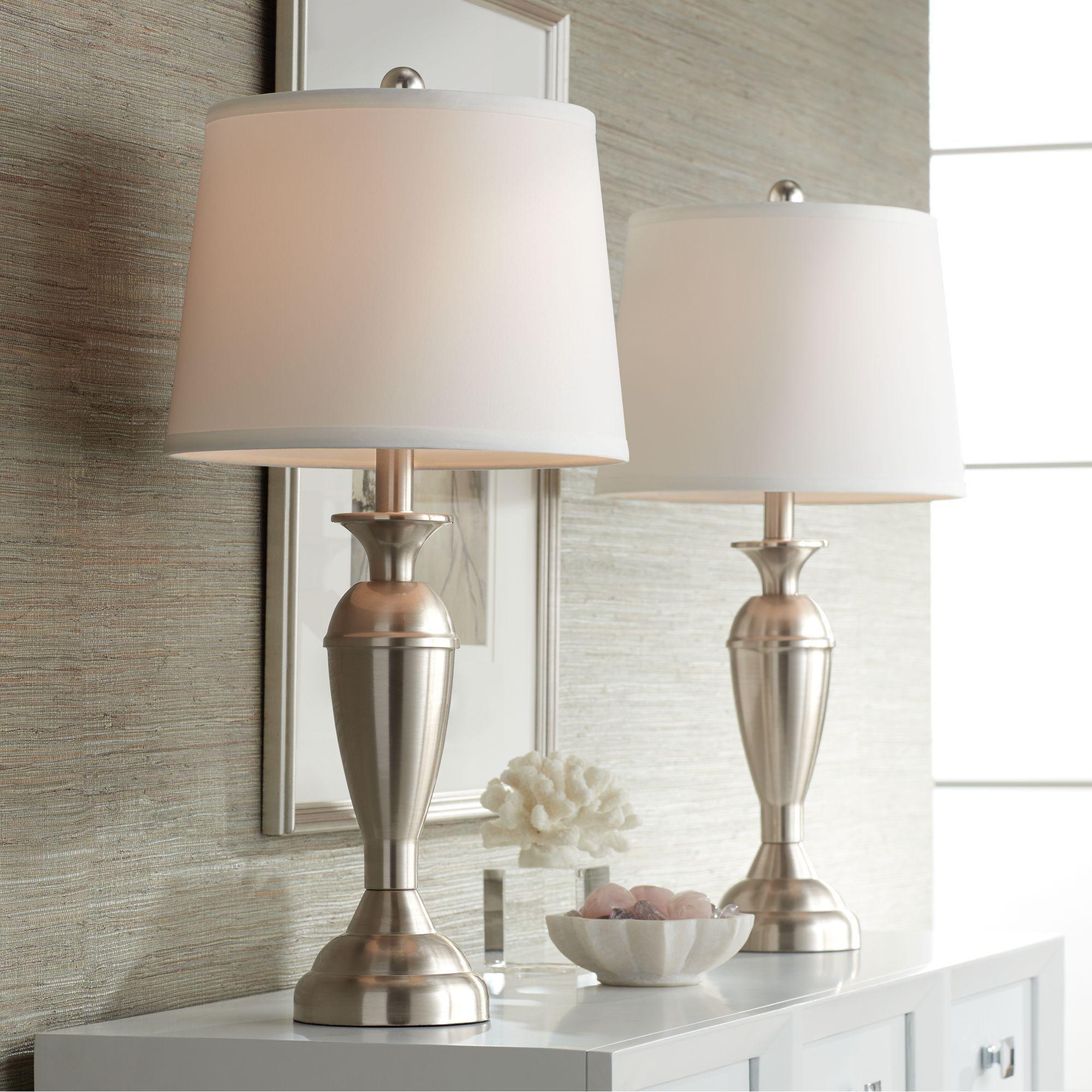 Regency Hill Modern Table Lamps Set Of 2 Brushed Steel Metal White Drum Shade For Living Room Family Bedroom Bedside Nightstand Walmart Com In 2020 Table Lamp Sets Modern Table Lamp Table Lamp #white #living #room #lamps