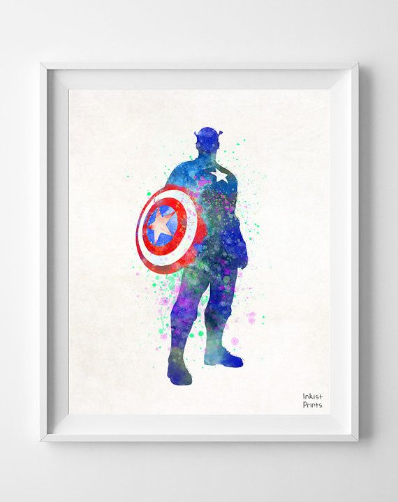 Captain America Watercolor Superhero poster Marvel by InkistPrints, $11.95 - Shipping Worldwide! [Click Photo for Details]