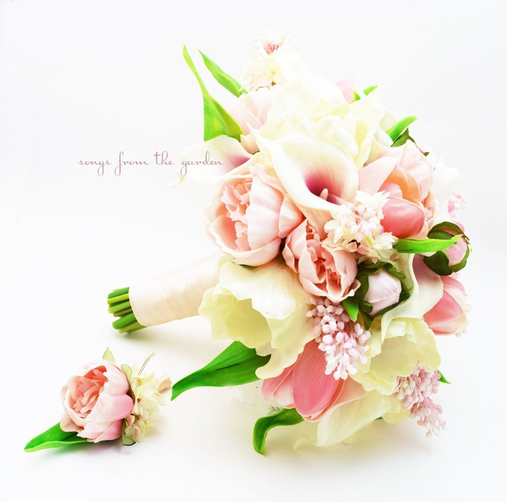 Blush Bridal Bouquet Lilac Peonies Callas Lilies Tulips Peony