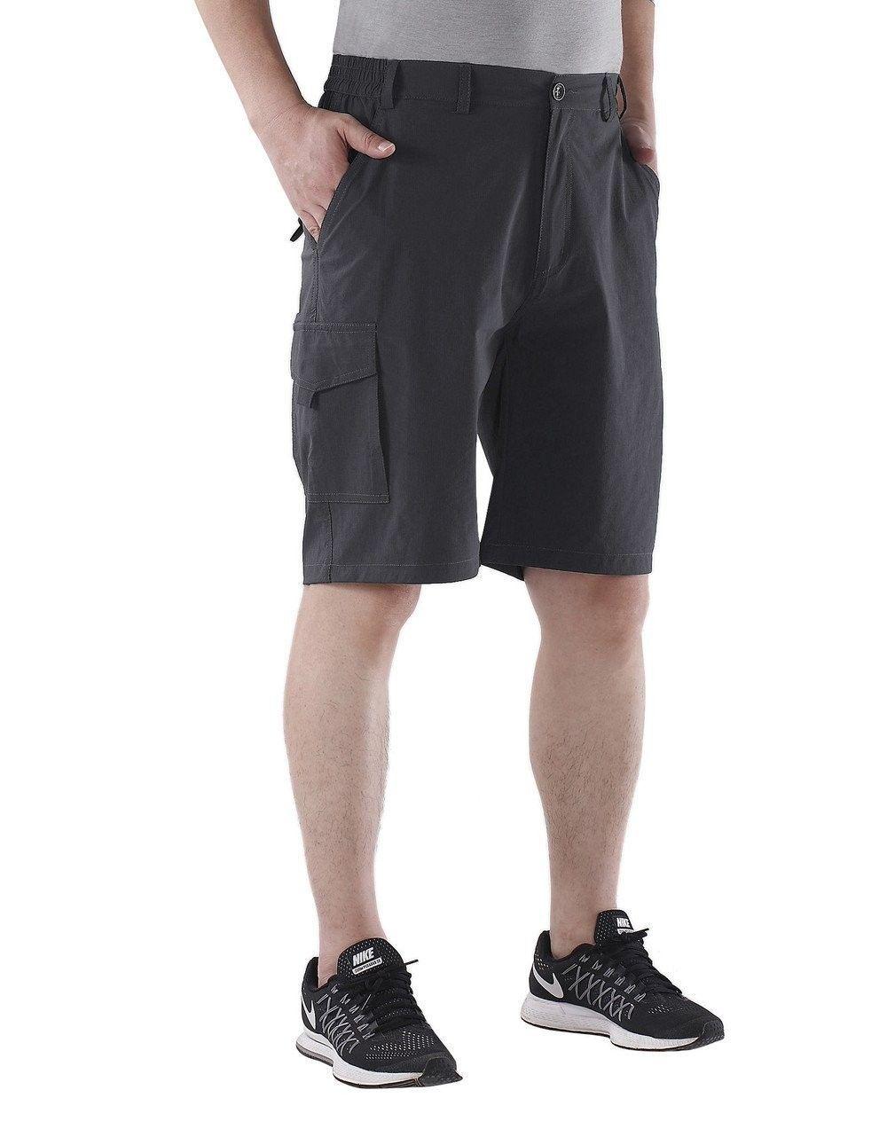 dcadf90bb0 Men's Outdoor Water-resistant Quick Dry Cargo Shorts - Gray (with zipper  pocket) - CB12O44INHI - Men's Clothing, Active, Active Pants #ActivePants # Men's ...