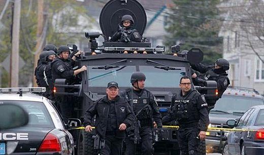 Watertown Martial Law Image Above Boston Swat Teams Patrolling